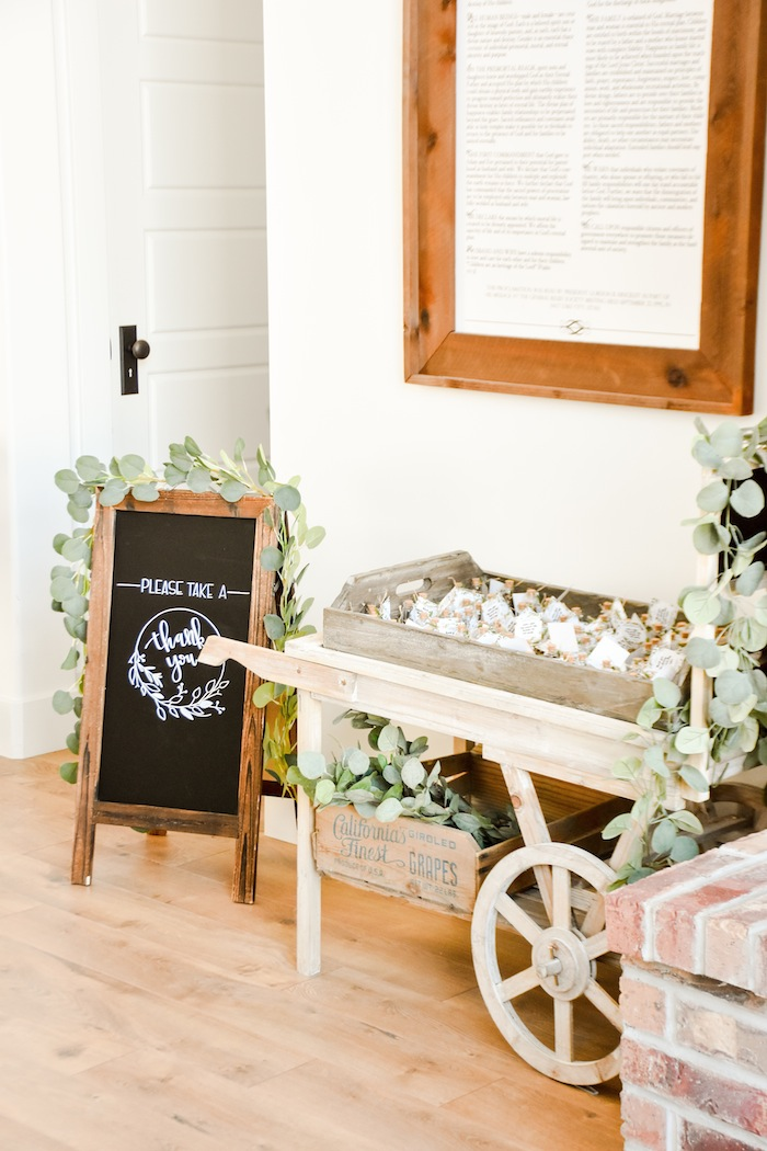 Wildflower Seed Favors Garden Rustic Earth Right After Rain Farmhouse Boy Baptism Party Luncheon LDS by Kara's Party Ideas KarasPartyIdeas.com 25