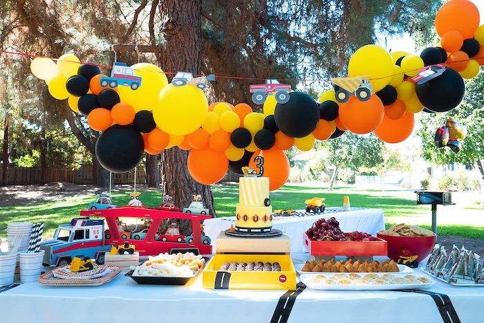 Construction Party Dessert Table Set Up on Kara's Party Ideas | KarasPartyIdeas.com