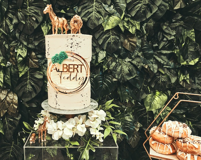 "Jungle Themed Cake from a ""Welcome to the Wild"" Jungle Baby Shower on Kara's Party Ideas 