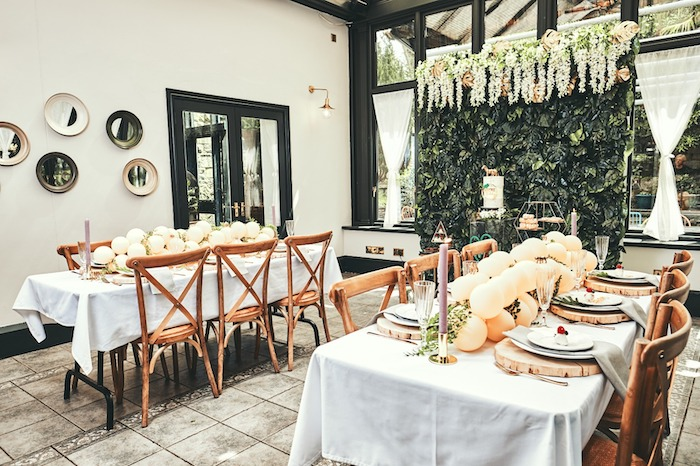 "Jungle-inspired Guest Tables from a ""Welcome to the Wild"" Jungle Baby Shower on Kara's Party Ideas 