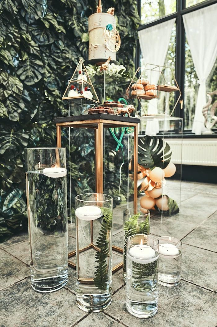 "Floating Candles from a ""Welcome to the Wild"" Jungle Baby Shower on Kara's Party Ideas 