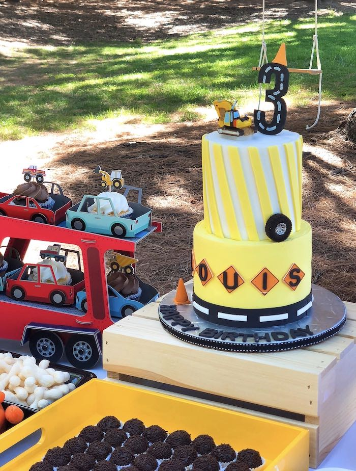 Construction Birthday Cake on Kara's Party Ideas | KarasPartyIdeas.com
