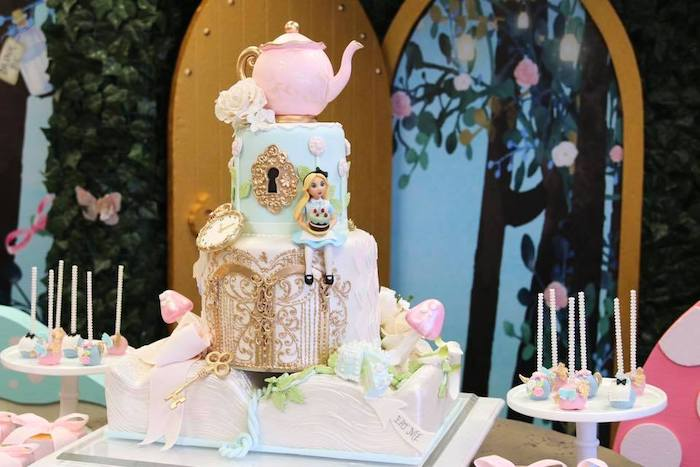 Alice in Wonderland Cake from an Alice in Wonderland Tea Party on Kara's Party Ideas | KarasPartyIdeas.com (12)