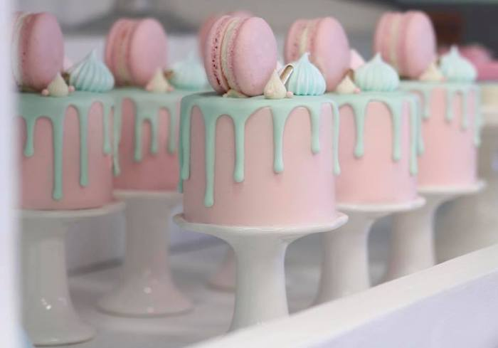 Mini Pink + Blue Drip Cakes on Pedestals from an Alice in Wonderland Tea Party on Kara's Party Ideas | KarasPartyIdeas.com (8)