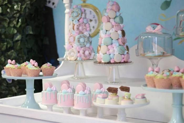 Alice in Wonderland Themed Dessert Buffet from an Alice in Wonderland Tea Party on Kara's Party Ideas | KarasPartyIdeas.com (7)
