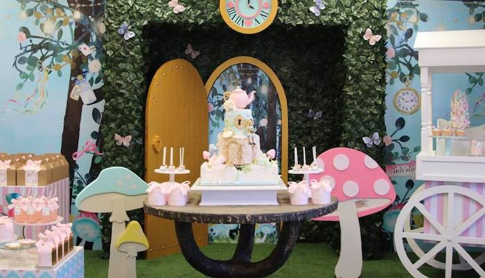 Alice in Wonderland Cake Table from an Alice in Wonderland Tea Party on Kara's Party Ideas | KarasPartyIdeas.com (5)