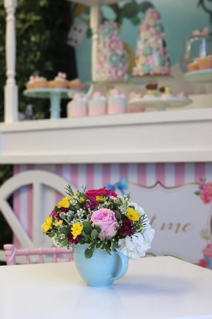 Tea Cup Floral Arrangement from an Alice in Wonderland Tea Party on Kara's Party Ideas | KarasPartyIdeas.com (4)