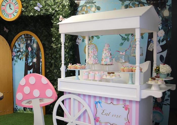 Alice in Wonderland-inspired Dessert Cart from an Alice in Wonderland Tea Party on Kara's Party Ideas | KarasPartyIdeas.com (21)