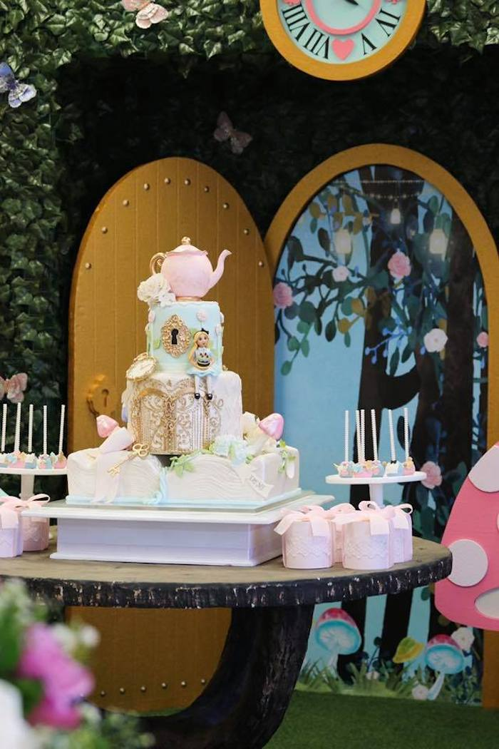 Alice in Wonderland Cake from an Alice in Wonderland Tea Party on Kara's Party Ideas | KarasPartyIdeas.com (18)