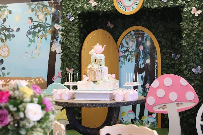 Alice in Wonderland Cake Table from an Alice in Wonderland Tea Party on Kara's Party Ideas | KarasPartyIdeas.com (15)