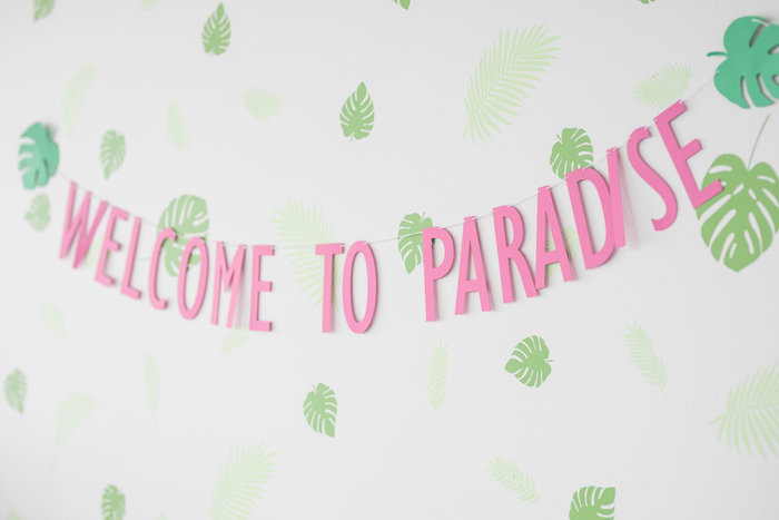 Welcome To Paradise Banner + Tropical Leaf Backdrop from a Bachelor in Paradise Viewing Party on Kara's Party Ideas | KarasPartyIdeas.com (21)
