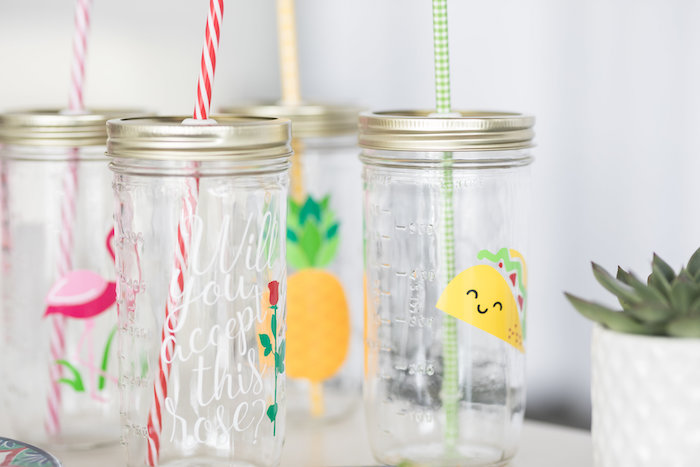 Mason Jar Drink Cups with Custom Decals from a Bachelor in Paradise Viewing Party on Kara's Party Ideas | KarasPartyIdeas.com (17)