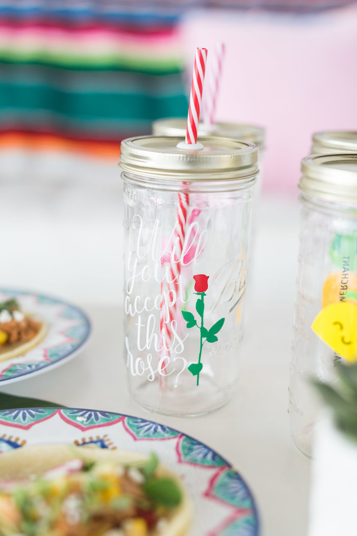Rose Mason Jar Drink Cup from a Bachelor in Paradise Viewing Party on Kara's Party Ideas | KarasPartyIdeas.com (16)