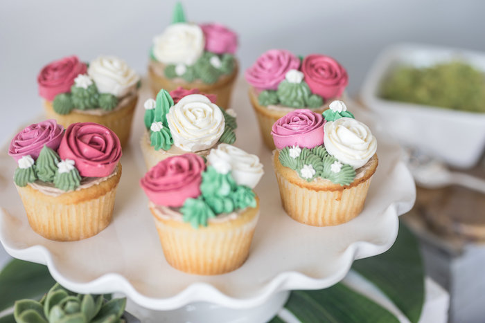 Succulent & Rose Cupcakes from a Bachelor in Paradise Viewing Party on Kara's Party Ideas | KarasPartyIdeas.com (34)