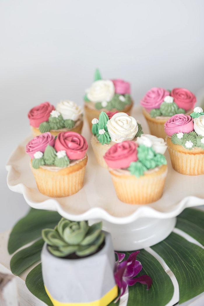 Succulent & Rose Cupcakes from a Bachelor in Paradise Viewing Party on Kara's Party Ideas | KarasPartyIdeas.com (30)