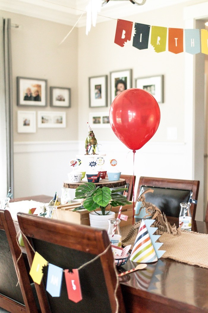 Dinosaur Themed Guest Table + Table Setting from a Dino-mite Birthday Party on Kara's Party Ideas | KarasPartyIdeas.com (29)