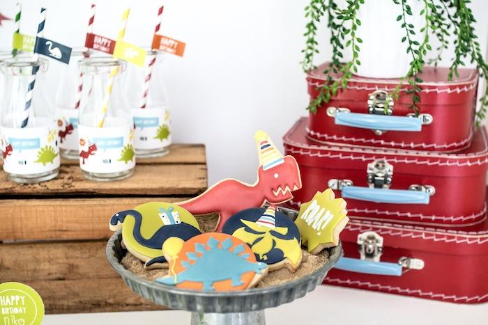 Dinosaur Sugar Cookies from a Dino-mite Birthday Party on Kara's Party Ideas | KarasPartyIdeas.com (26)