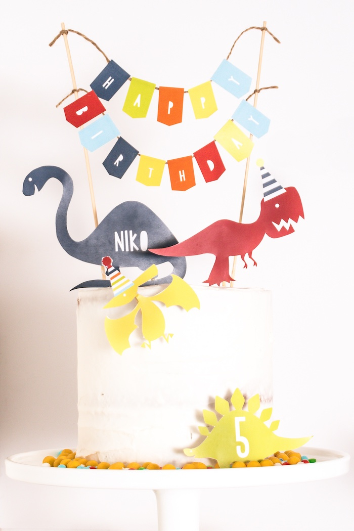 Dinosaur Themed Birthday Cake from a Dino-mite Birthday Party on Kara's Party Ideas | KarasPartyIdeas.com (24)