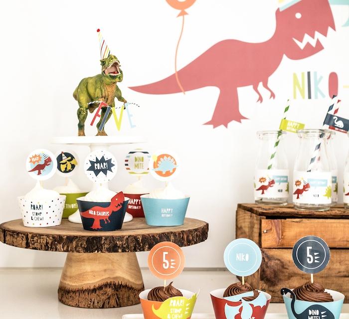 Dinosaur-topped Cupcake Pedestal from a Dino-mite Birthday Party on Kara's Party Ideas | KarasPartyIdeas.com (23)
