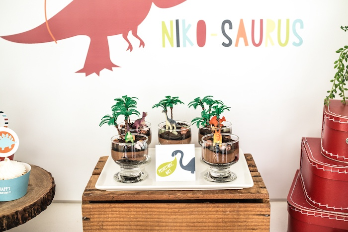 Prehistoric Dinosaur Dirt + Pudding Cups from a Dino-mite Birthday Party on Kara's Party Ideas | KarasPartyIdeas.com (21)