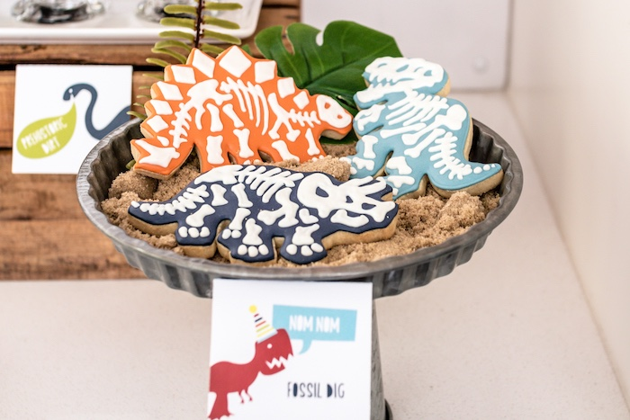 Dinosaur Fossil Sugar Cookies from a Dino-mite Birthday Party on Kara's Party Ideas | KarasPartyIdeas.com (20)