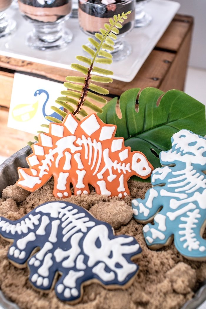 Dinosaur Fossil Sugar Cookies from a Dino-mite Birthday Party on Kara's Party Ideas | KarasPartyIdeas.com (19)