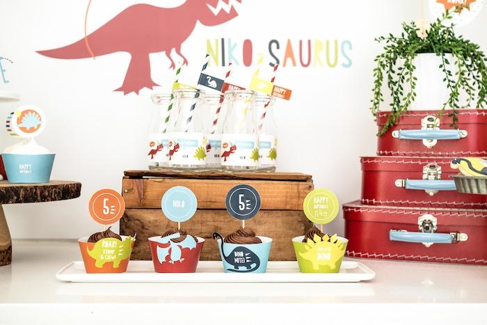 Dinosaur Cupcakes from a Dino-mite Birthday Party on Kara's Party Ideas | KarasPartyIdeas.com (17)
