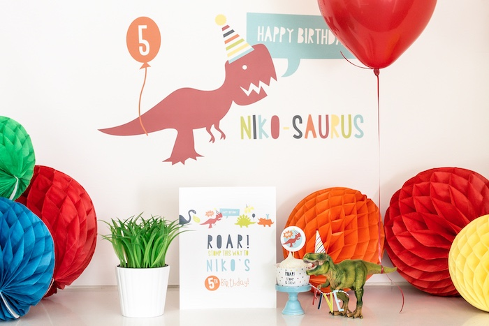 Dinosaur Party Table from a Dino-mite Birthday Party on Kara's Party Ideas | KarasPartyIdeas.com (16)