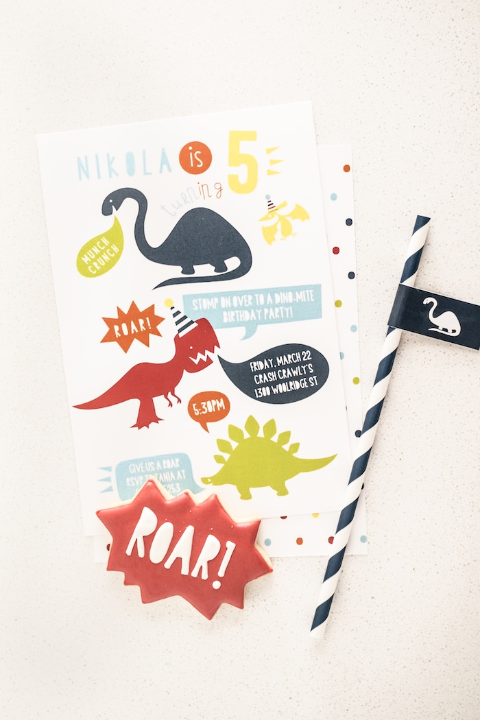 Dinosaur Party Invite from a Dino-mite Birthday Party on Kara's Party Ideas | KarasPartyIdeas.com (15)