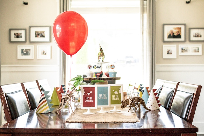 Dinosaur Themed Guest Table from a Dino-mite Birthday Party on Kara's Party Ideas | KarasPartyIdeas.com (13)