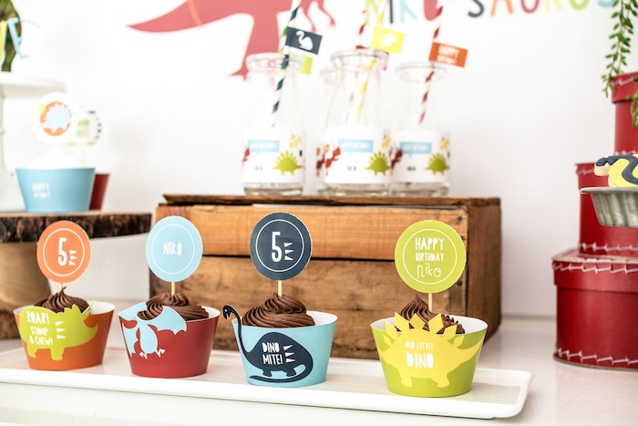 Dinosaur Cupcakes from a Dino-mite Birthday Party on Kara's Party Ideas | KarasPartyIdeas.com (12)