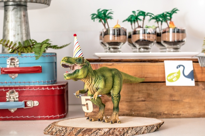 Party Hat-wearing T-Rex + Prop from a Dino-mite Birthday Party on Kara's Party Ideas | KarasPartyIdeas.com (38)