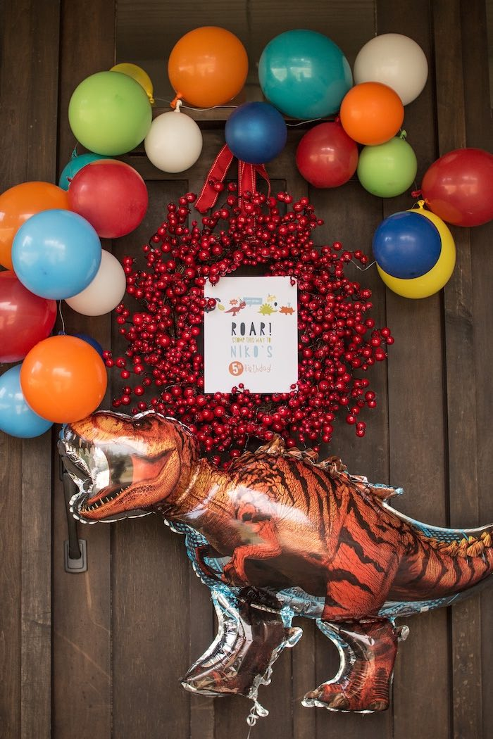 Dino Balloon Welcome Wreath from a Dino-mite Birthday Party on Kara's Party Ideas | KarasPartyIdeas.com (10)