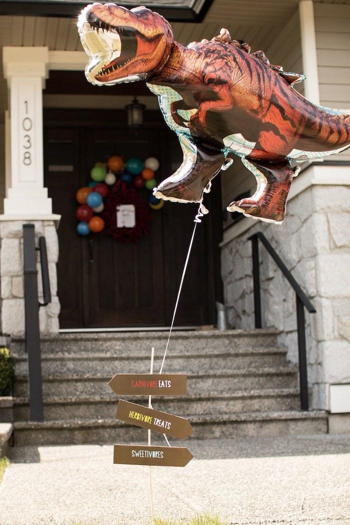 Dino Balloon Welcome Sign from a Dino-mite Birthday Party on Kara's Party Ideas | KarasPartyIdeas.com (9)
