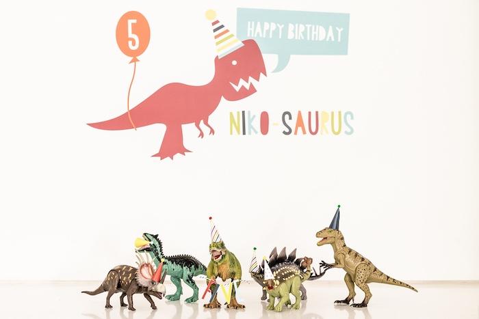 Party Dinosaurs + Backdrop from a Dino-mite Birthday Party on Kara's Party Ideas | KarasPartyIdeas.com (8)