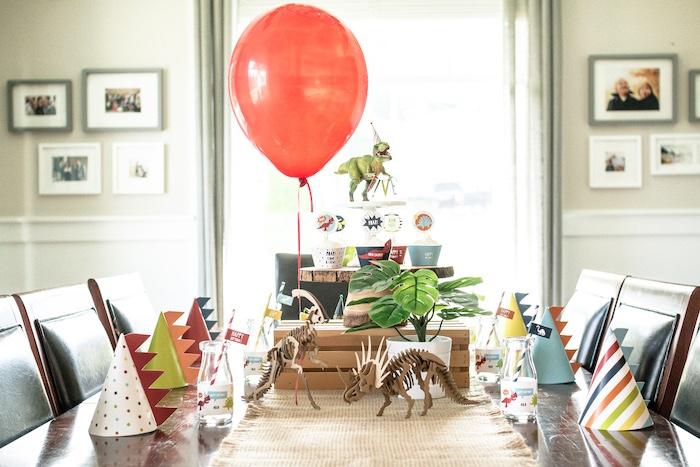 Dinosaur Themed Guest Table from a Dino-mite Birthday Party on Kara's Party Ideas | KarasPartyIdeas.com (35)