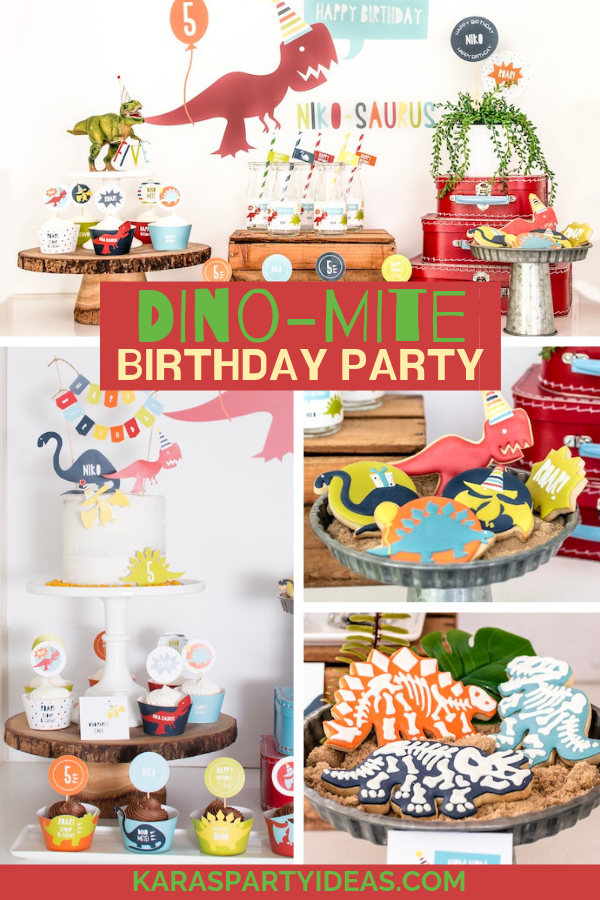 Dino-mite Dinosaur Birthday Party via Kara's Party Ideas - KarasPartyIdeas.com