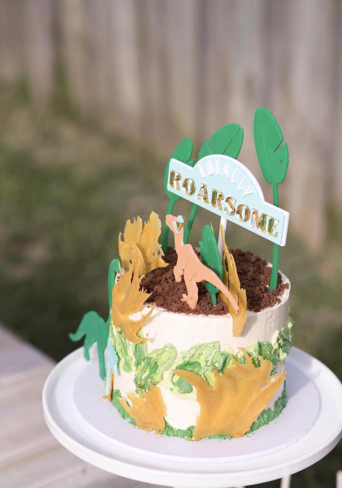 Totally Roarsome Dinosaur Cake from a Dinosaur Explorer Birthday Party on Kara's Party Ideas | KarasPartyIdeas.com (13)