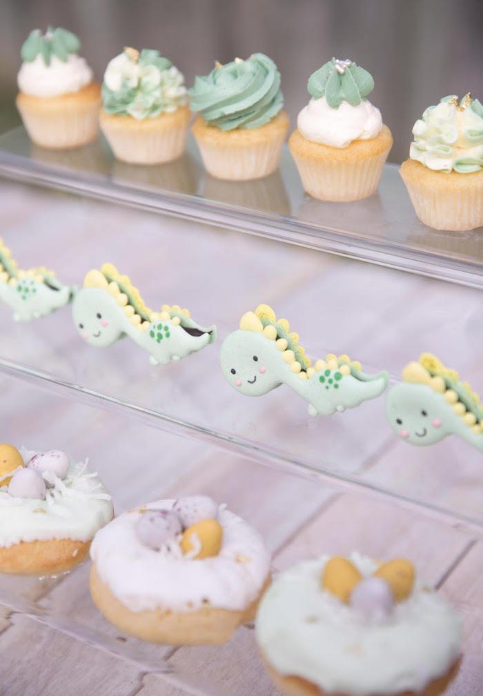 Dinosaur Macarons + Donuts + Cupcakes from a Dinosaur Explorer Birthday Party on Kara's Party Ideas | KarasPartyIdeas.com (12)