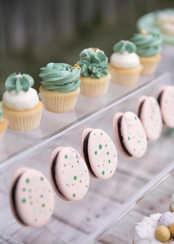 Egg Macarons + Cupcakes from a Dinosaur Explorer Birthday Party on Kara's Party Ideas | KarasPartyIdeas.com (8)