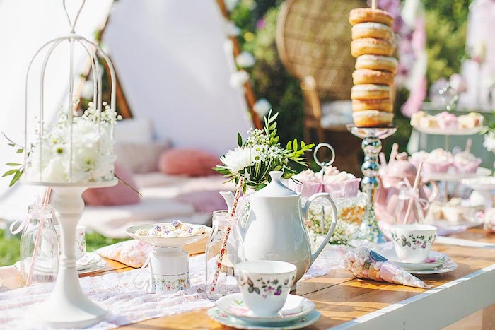 Tea Tablescape from a Fairy Castle Princess Party on Kara's Party Ideas | KarasPartyIdeas.com (5)
