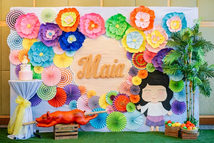 Paper Flower Filipino-inspired Backdrop from a Filipiniana Inspired Birthday Party on Kara's Party Ideas | KarasPartyIdeas.com (18)