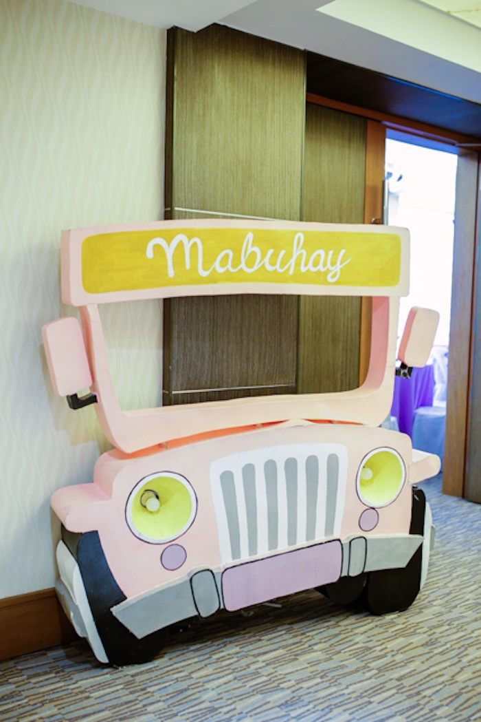 Jeepney Party Entrance from a Filipiniana Inspired Birthday Party on Kara's Party Ideas | KarasPartyIdeas.com (15)