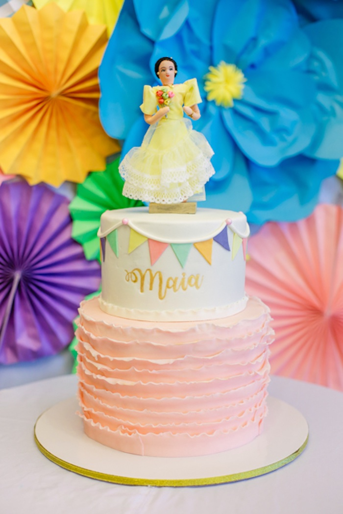 Philippine Girl Ruffle Cake on Kara's Party Ideas | KarasPartyIdeas.com (25)