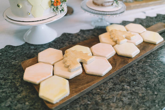 Honeycomb Sugar Cookies from a First Bee-Day Birthday Party on Kara's Party Ideas | KarasPartyIdeas.com (7)