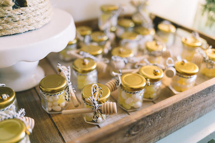 Honey Jar Candy Favors from a First Bee-Day Birthday Party on Kara's Party Ideas | KarasPartyIdeas.com (17)