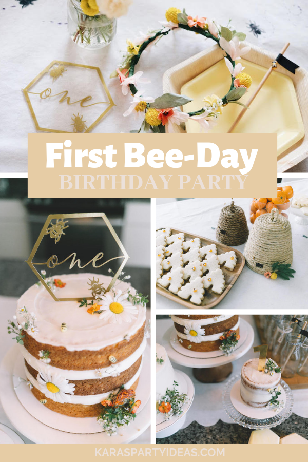 First Bee-Day birthday Party via Kara's Party Ideas - KarasPartyIdeas.com