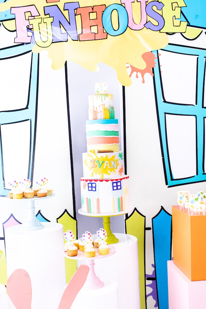 Art + Paint Themed Birthday Cake from a Fun House Birthday Party on Kara's Party Ideas | KarasPartyIdeas.com (31)