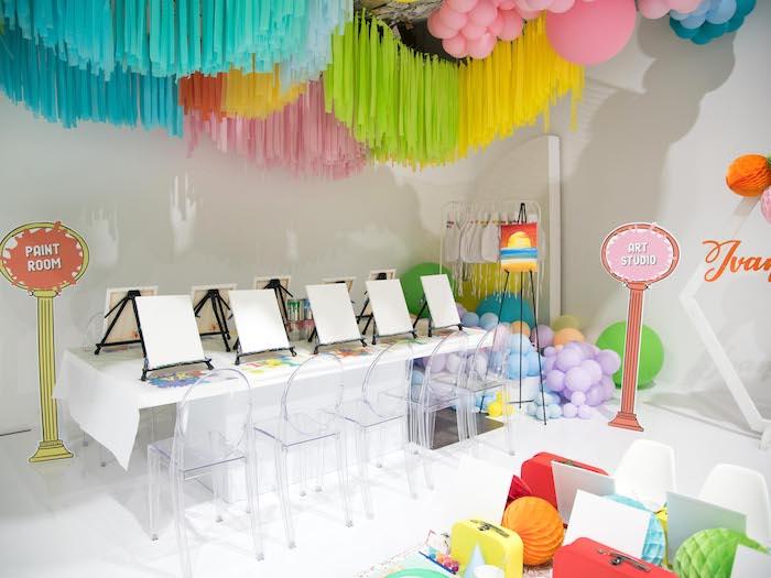 Paint Table + Room from a Fun House Birthday Party on Kara's Party Ideas | KarasPartyIdeas.com (28)