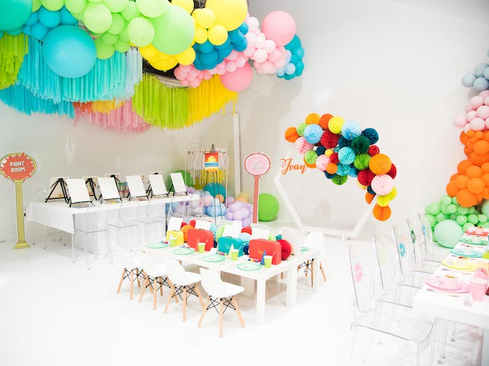 Party Tables from a Fun House Birthday Party on Kara's Party Ideas | KarasPartyIdeas.com (26)